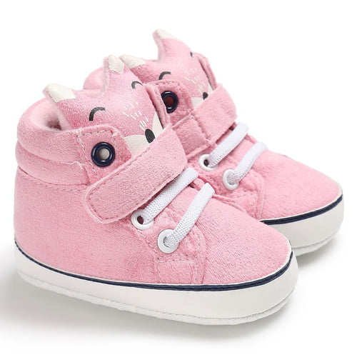 Fox Head Lace Baby Autumn Shoes Anti-slip First Walker Soft Cotton Cloth (pink) | etrolleys.com