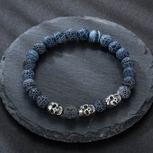 Load image into Gallery viewer, Volcanic stone natural beads Skeleton skull men bracelet blue