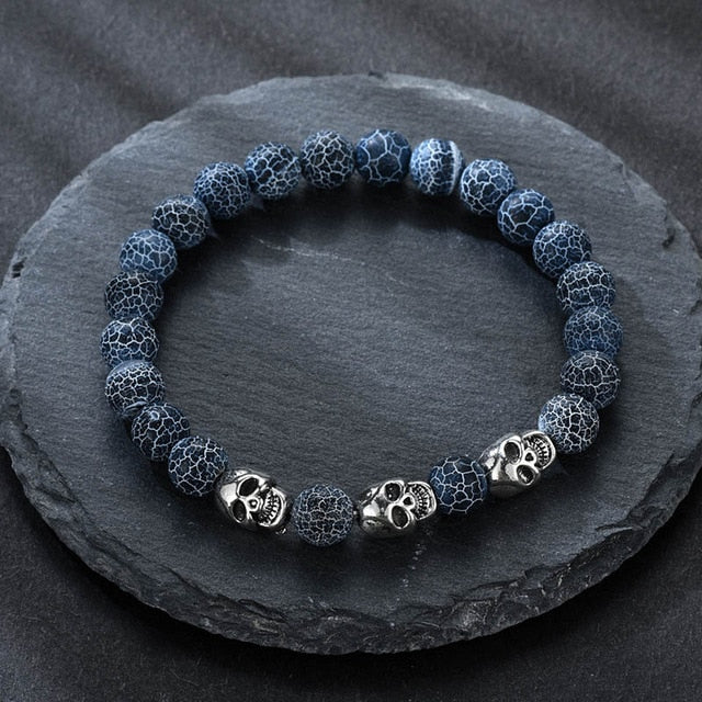 Volcanic stone natural beads Skeleton skull men bracelet blue