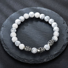 Load image into Gallery viewer, Volcanic stone natural beads Skeleton skull men bracelet white