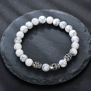 Volcanic stone natural beads Skeleton skull men bracelet white
