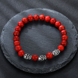 Volcanic stone natural beads Skeleton skull men bracelet red