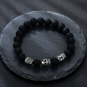 Volcanic stone natural beads Skeleton skull men bracelet black