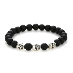 Volcanic stone natural beads Skeleton skull men bracelet black - white