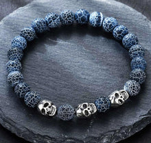 Load image into Gallery viewer, Volcanic stone natural beads Skeleton skull men bracelet