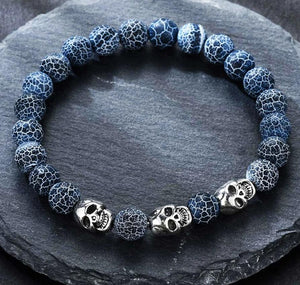 Volcanic stone natural beads Skeleton skull men bracelet