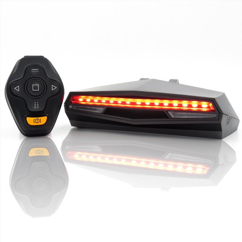 Smart Wireless Remote controlled USB Rechargeable Bike Tail Light with Turn indicators