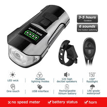 Load image into Gallery viewer, USB Chargeable Waterproof Bicycle Front Light / Horn / Speed Meter LCD Screen