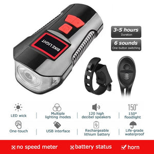 USB Chargeable Waterproof Bicycle Front Light / Horn / Speed Meter LCD Screen