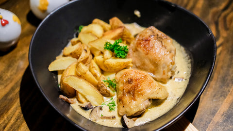 Chicken with Parmesan Cream and Wedge Potatoes