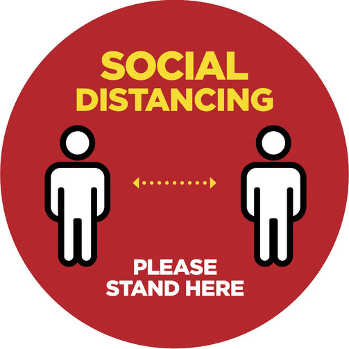 Please Stand Here - Social Distancing Round Laminated Floor Sticker - Red : 30cm - Pack of 3 - VIRUSH™ Anti-Virus Supplies