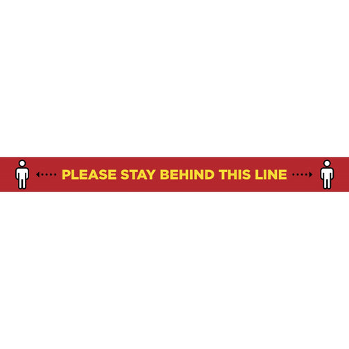 Please Stay Behind This Line Laminated Vinyl Floor Strip - Red : 80cm x 8cm - VIRUSH™ Anti-Virus Supplies