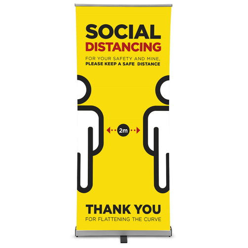 Please Keep A Safe Distance - Social Distancing Pull-Up Banner : Yellow - VIRUSH™ Anti-Virus Supplies