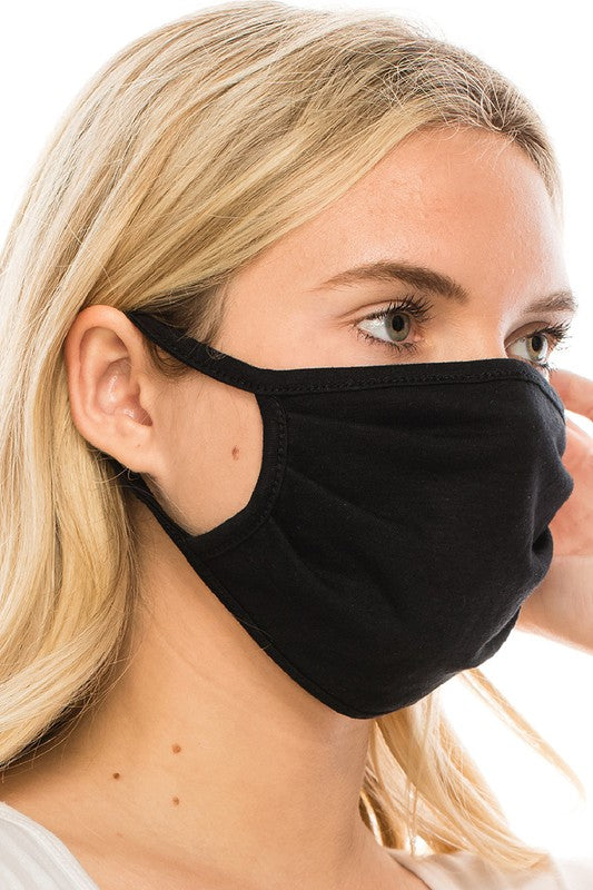 Solid Cotton Face Mask, Black