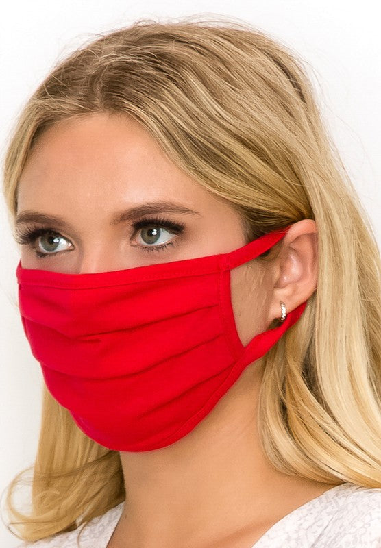 Solid Cotton Face Mask, Red