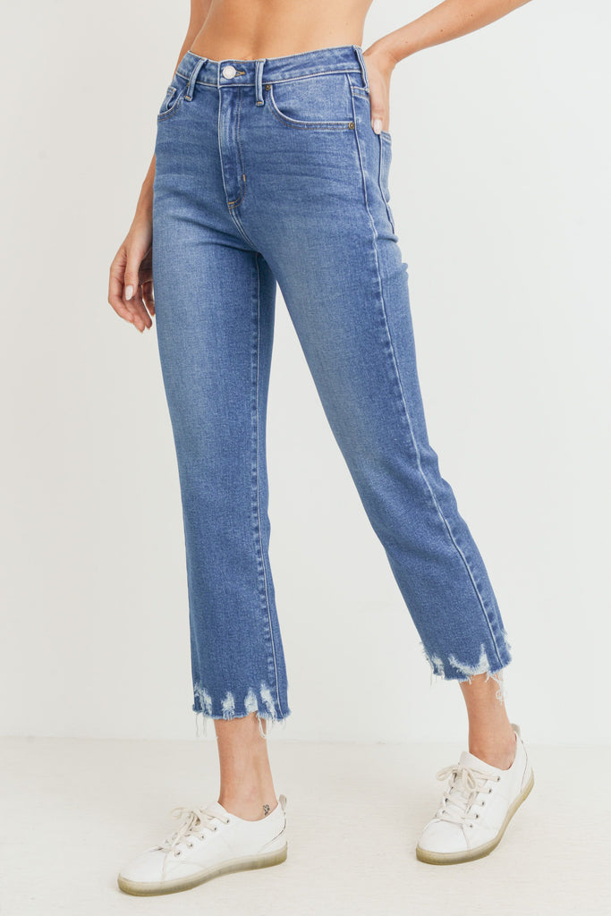 Destroyed Hem Straight, Medium Denim