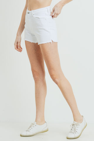 High Rise Frayed Slit Shorts, White