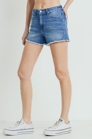 High Rise Frayed Slit Shorts, Medium Denim