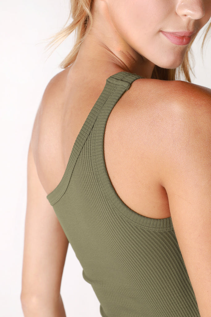 Ribbed One Shoulder Crop Top, Olive