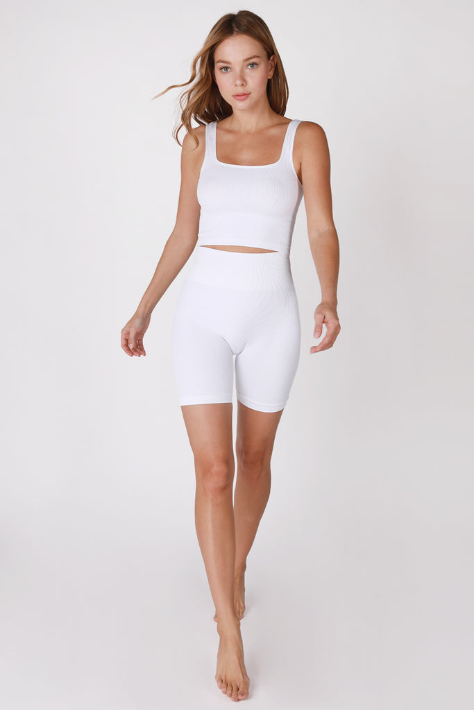 Ribbed Square Neck Crop Top, White