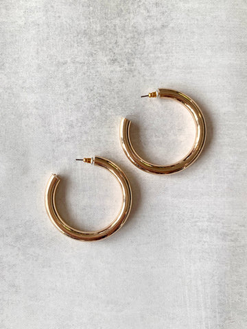 "2"" Shiny Goldie Hoop Earrings"
