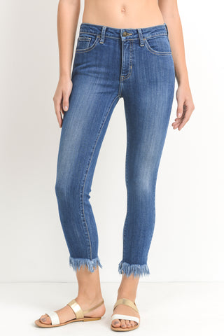 Bobby Fringe Hem Skinny Jeans, Medium Denim