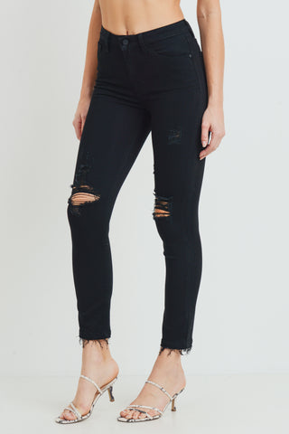 High Rise Destructed Skinny, Black