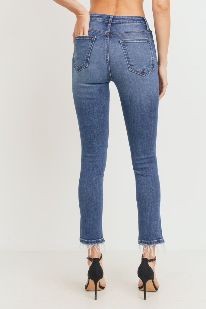 High Rise Destructed Skinny, Dark Denim