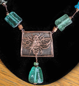 Etched Copper Bee Set - Sunroot Studio