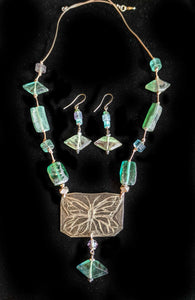 Art and Metal Jewelry - Nickel Silver Butterfly Necklace Set - Sunroot Studio