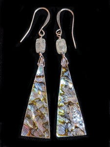 Abalone Shell & Green Kyanite Earrings