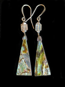 Abalone Shell & Labradorite Earrings - Sunroot Studio