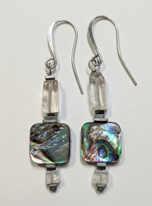 Abalone Shell & Quartz Earrings - Sunroot Studio