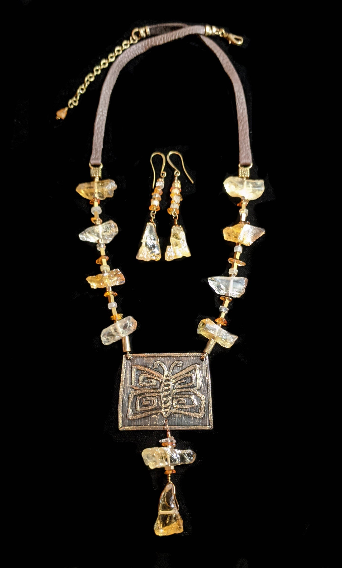 brass & citrine butterfly set