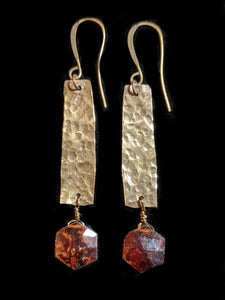 Hammered Brass & Garnet Earrings - Sunroot Studio