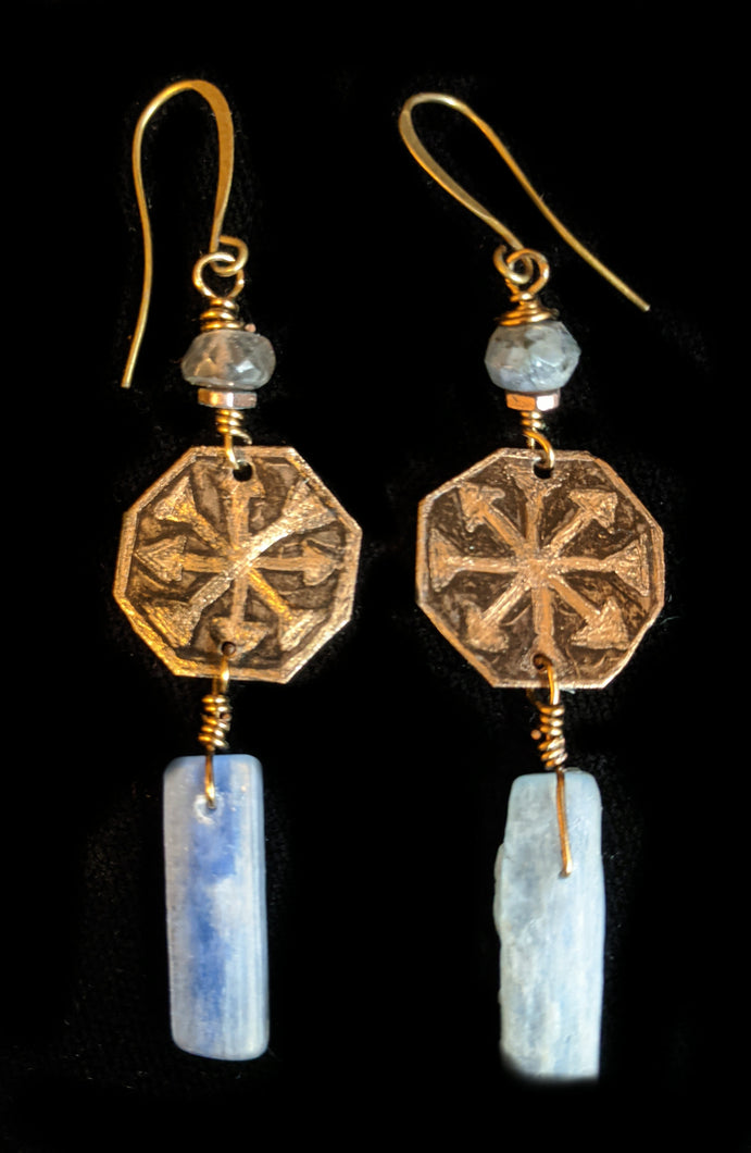 Bronze & Kyanite Earrings - Sunroot Studio