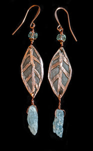 Copper Leaf & Kyanite Earrings - Sunroot Studio