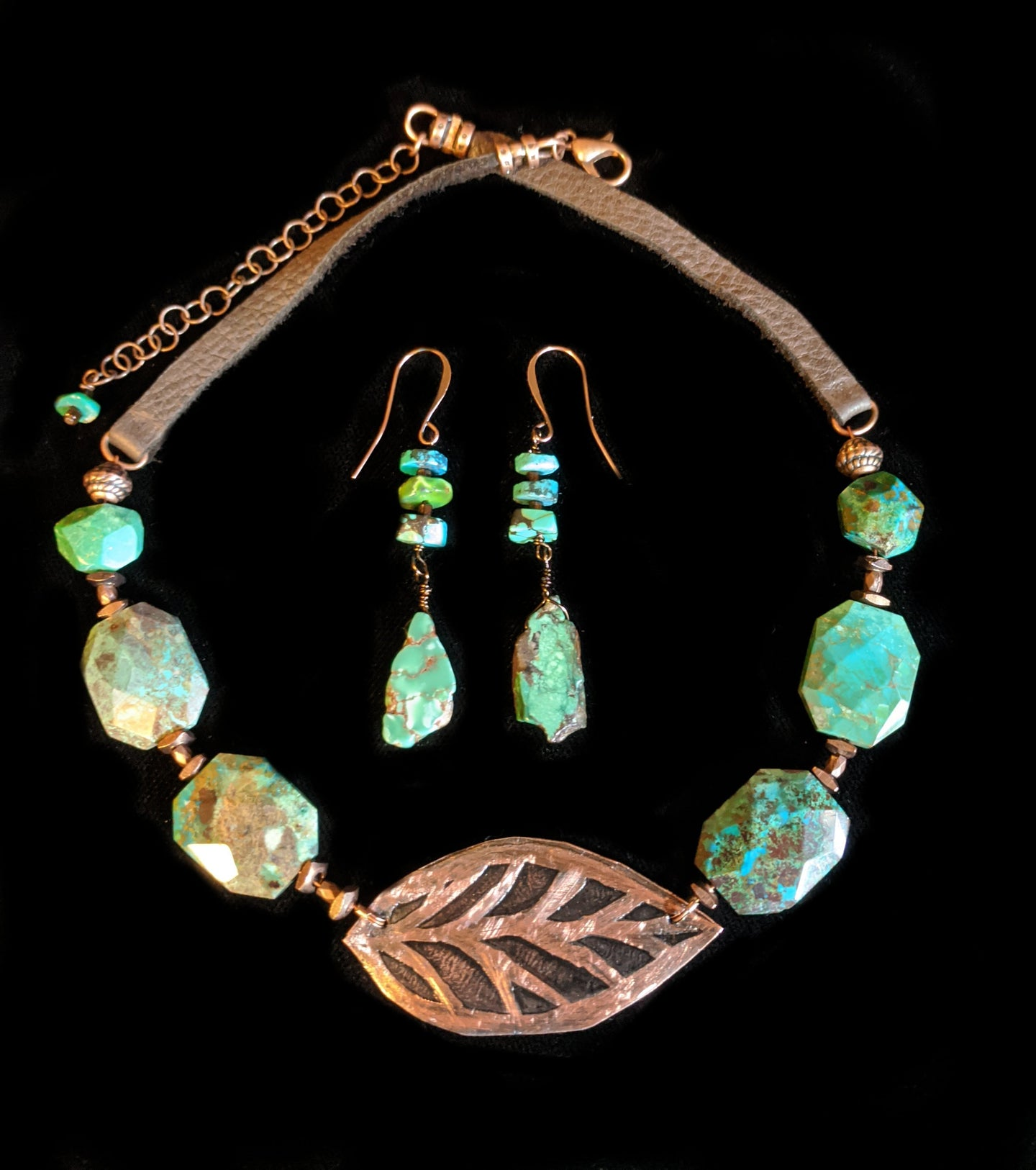 copper leaf & chrysocolla set - sunroot studio