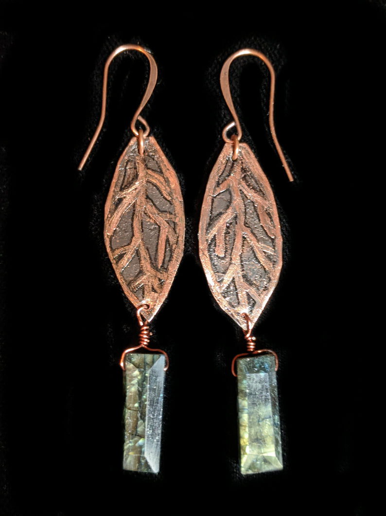 Copper Leaf & Labradorite Earrings
