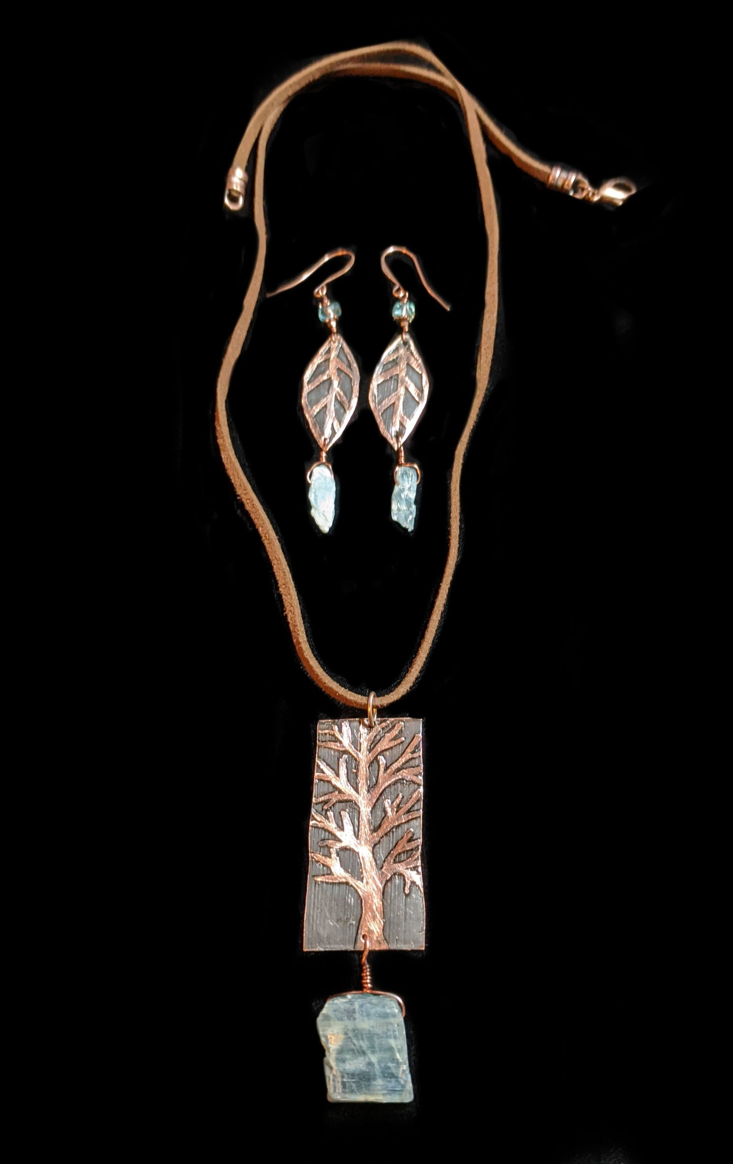 copper tree & kyanite pendant set - sunroot studio