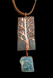 Copper Tree & Kyanite Pendant Set