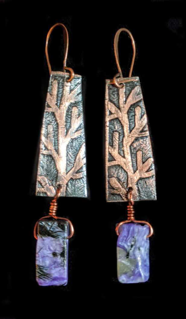 Copper Tree & Charoite Earrings - Sunroot Studio