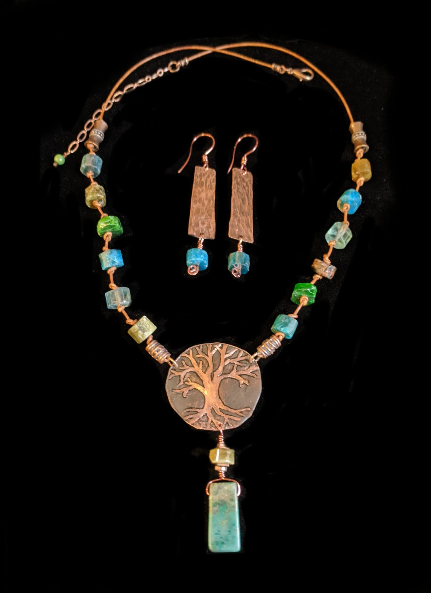 copper tree & mixed stones set - sunroot studio