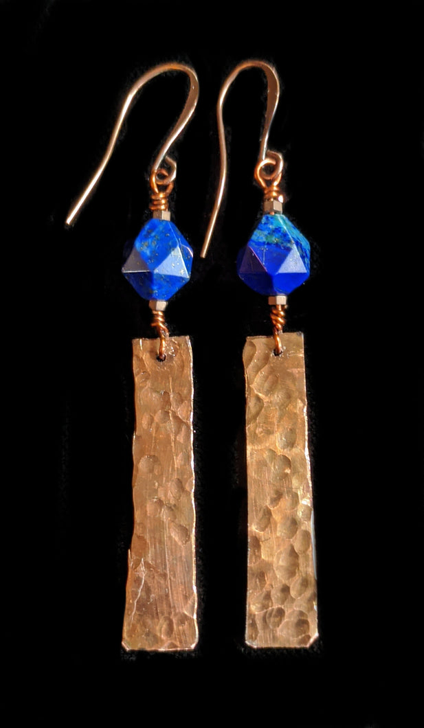 Copper & Azurite Earrings - Sunroot Studio