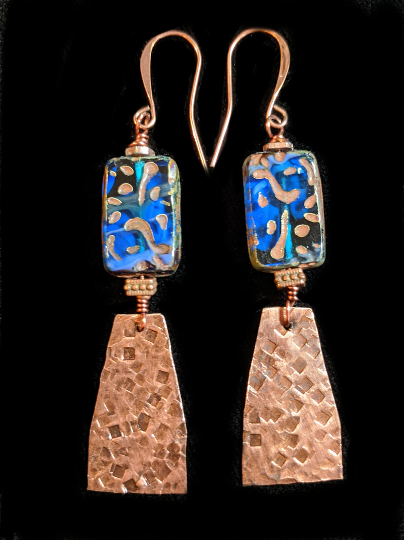 Hammered Copper & Czech Glass Earrings - Sunroot Studio