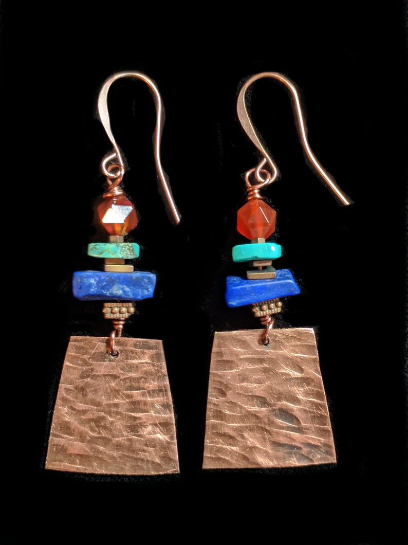 Hammered Copper & Mixed Stones Earrings - Sunroot Studio