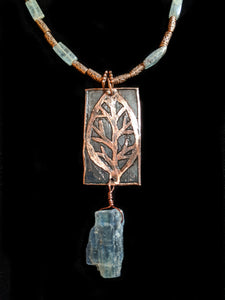 Copper Leaf & Kyanite Pendant Set