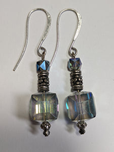 Crystal & Pewter Earrings - Sunroot Studio