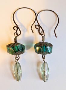 Emerald Czech Glass Earrings #2 - Sunroot Studio