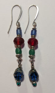 Blue Czech Glass Earrings - Sunroot Studio